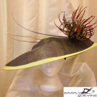 Ascot Black & Lime Green Fascinator - SN502